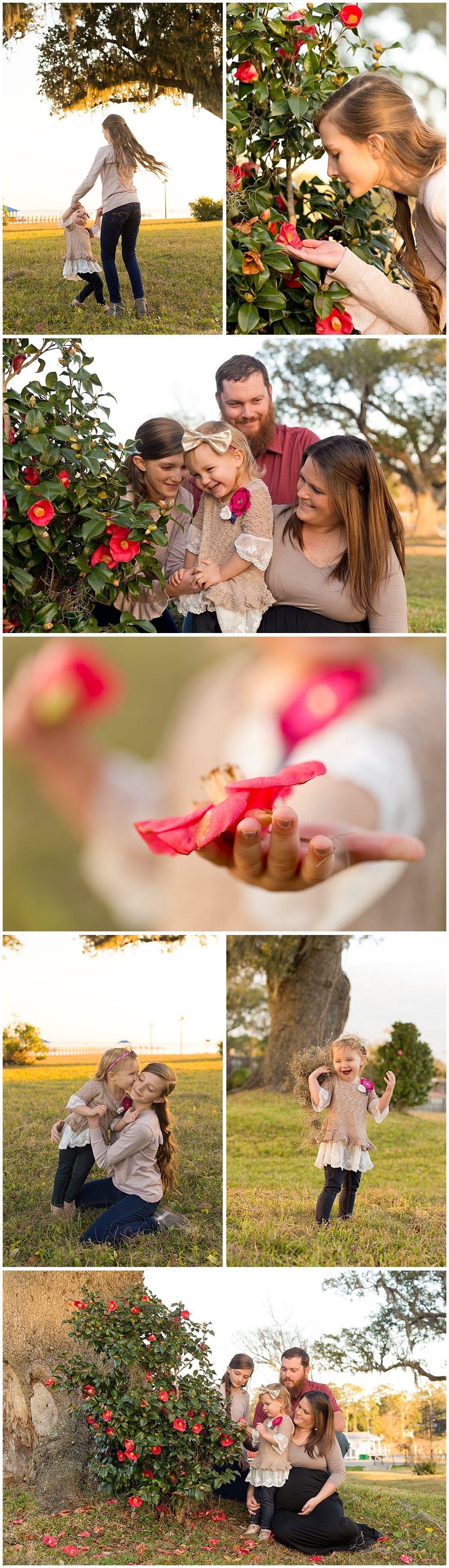 candid family photos with camellia flowers in Ocean Springs, Mississippi