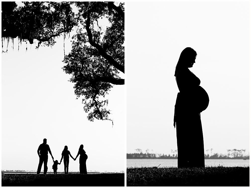 silhouette maternity photos, silhouette family photos - Ocean Springs maternity photographer