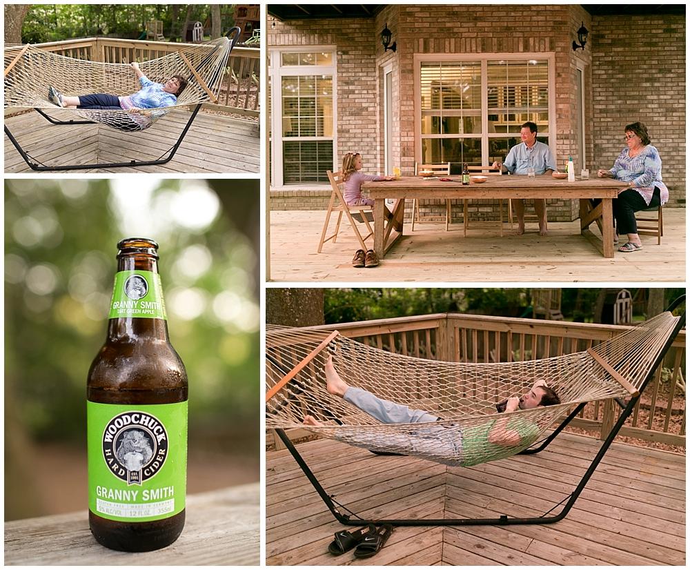 family relaxing on back deck, in hammock