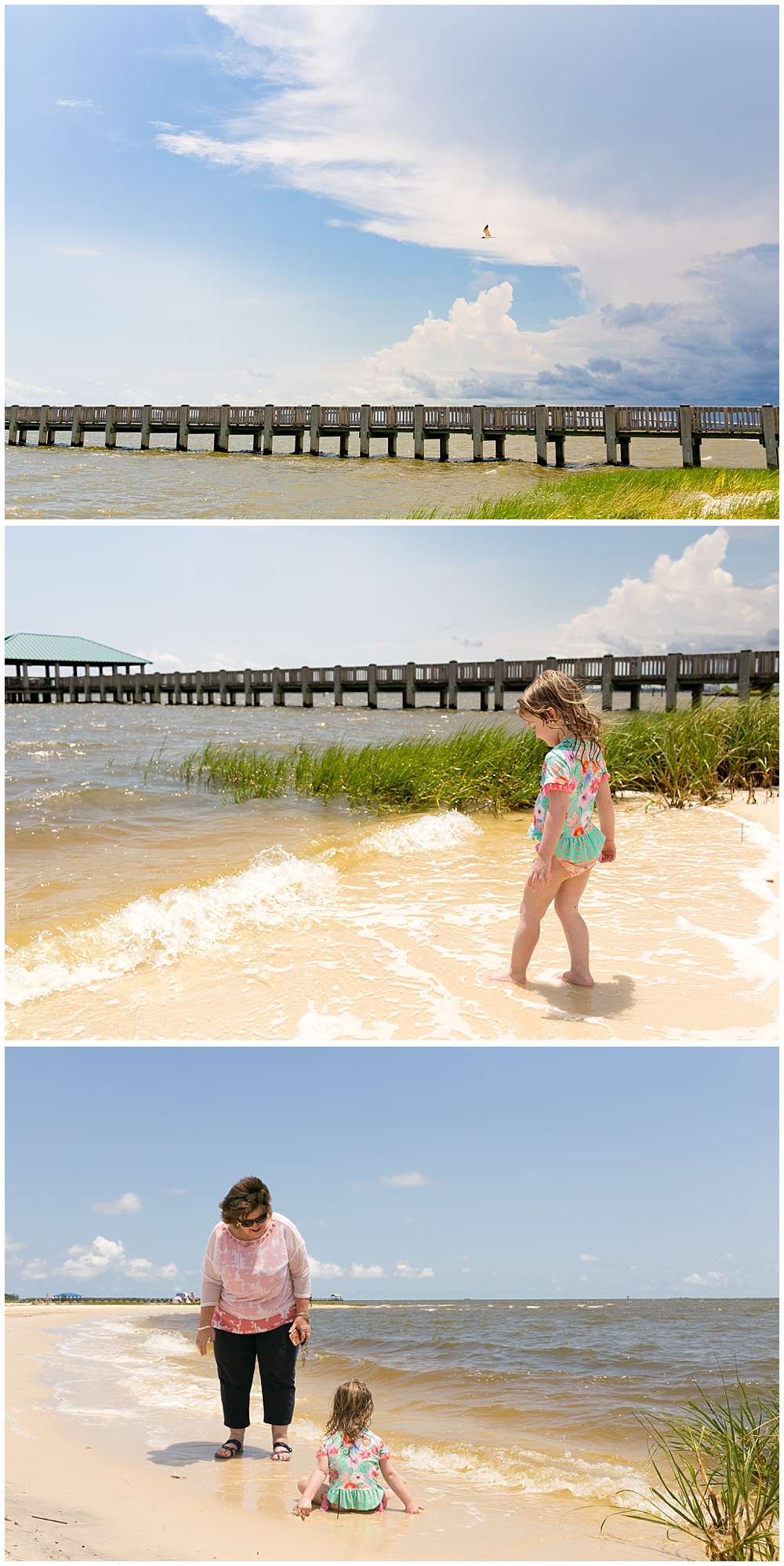 little girl playing on Ocean Springs front beach