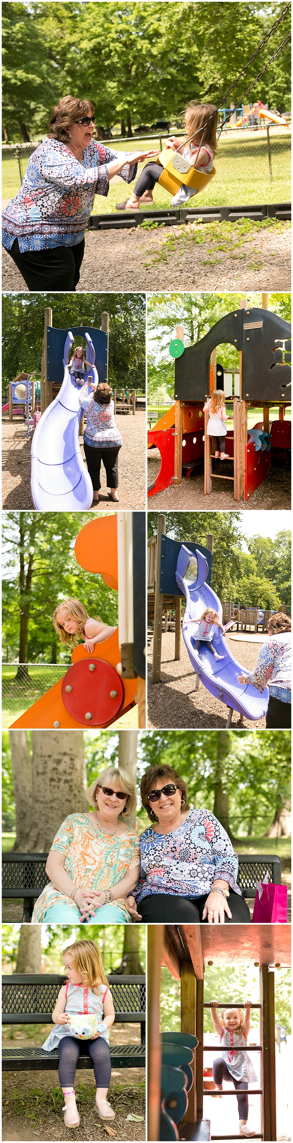 two-year-old girl with grandmother at Central Park in Ashland, Kentucky