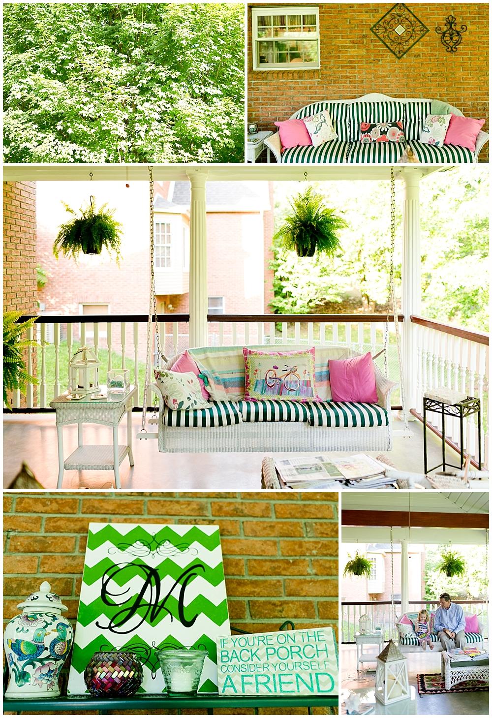 beautiful summertime back porch in Ashland, Kentucky