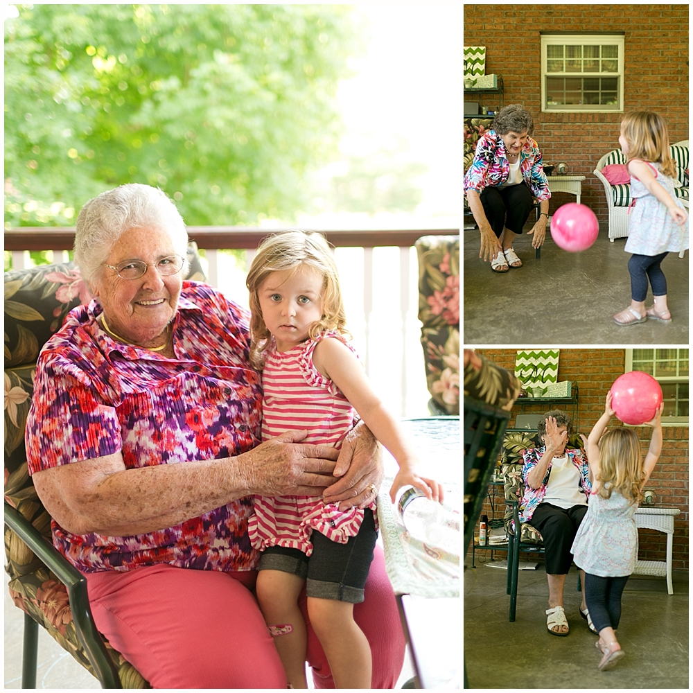 little girl visiting with great aunts on back porch