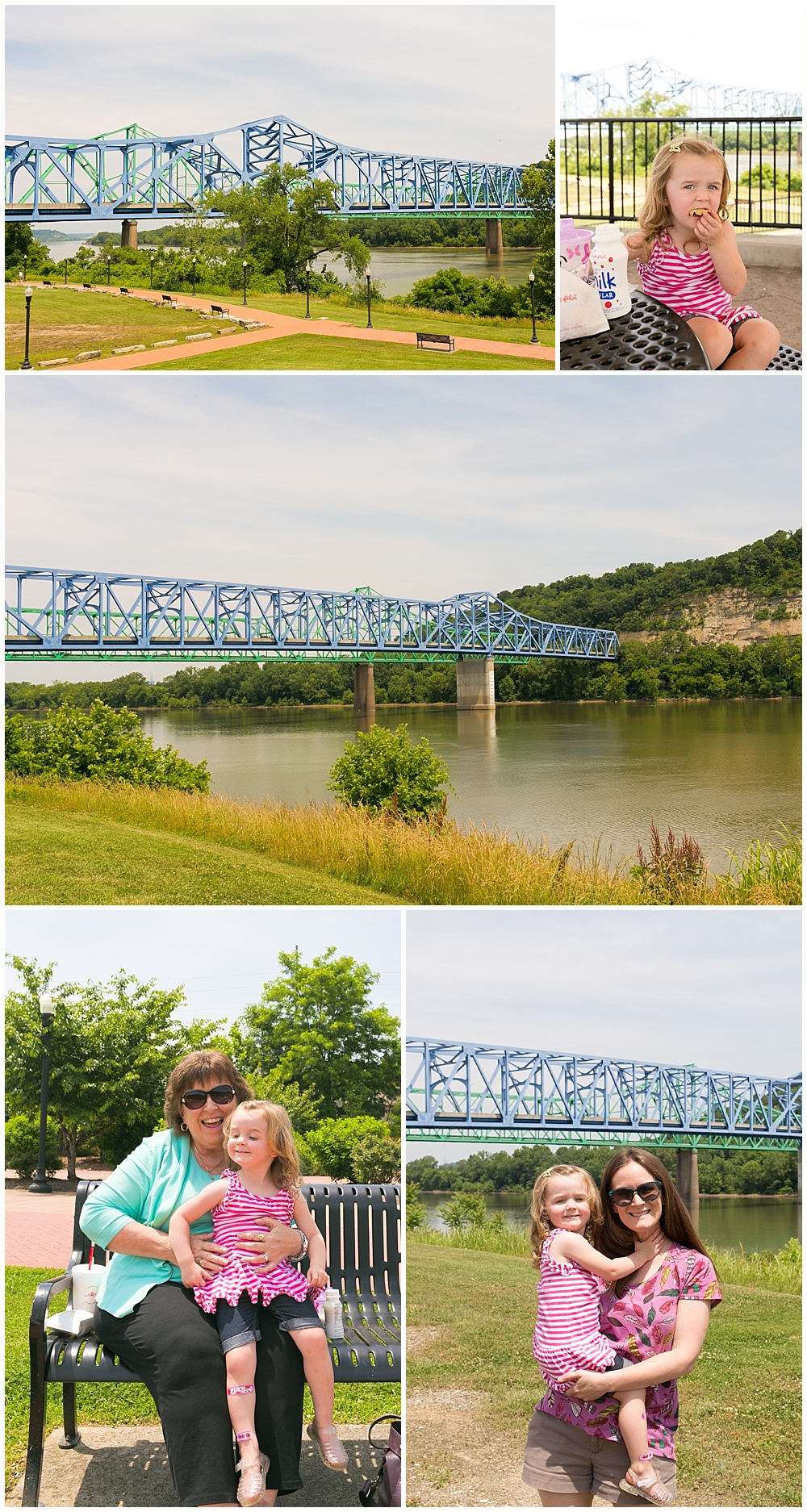 little girl with mom and grandmother at riverfront park in Ashland, Kentucky