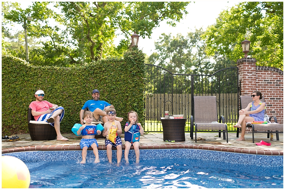 families playing poolside in Ocean Springs, Mississippi
