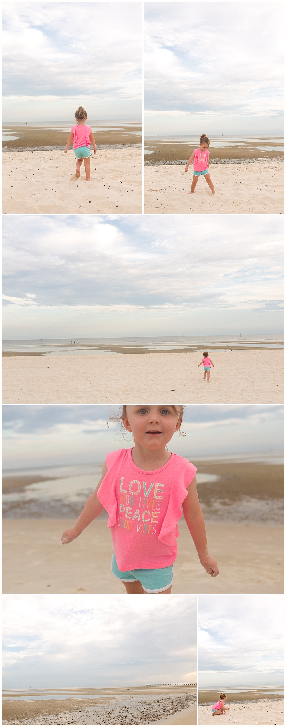 little girl playing on the beach in Biloxi, Mississippi