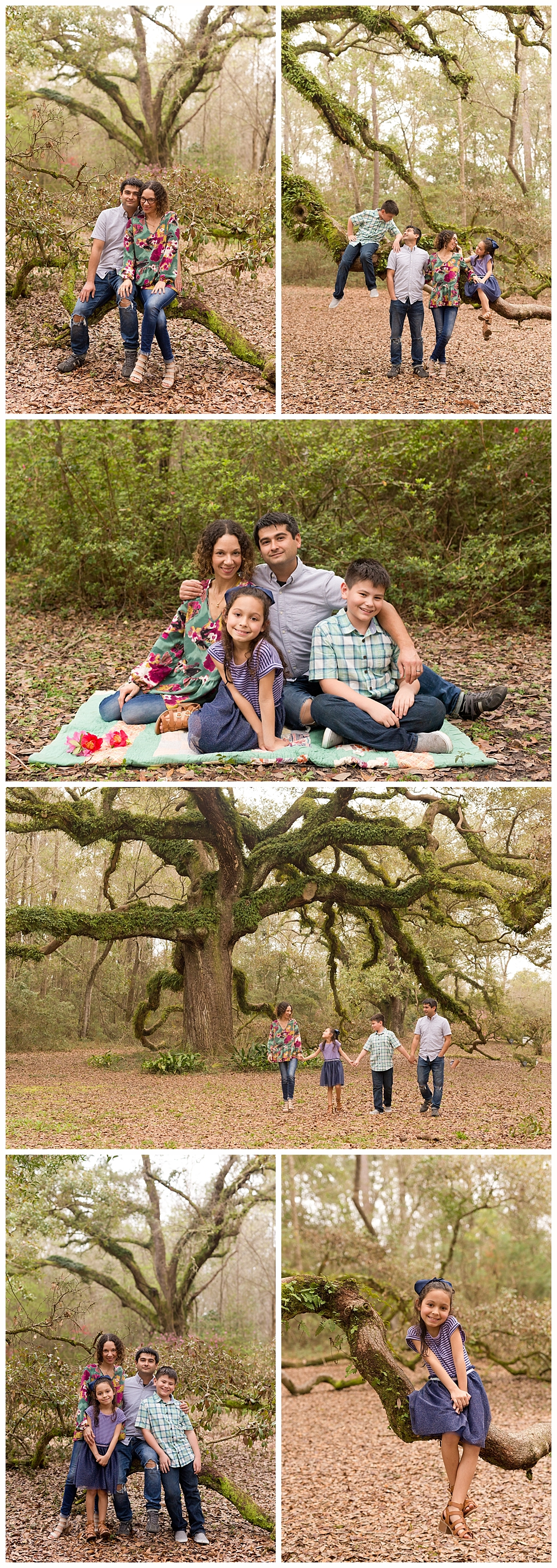 Ocean Springs family pictures in natural setting with live oak trees