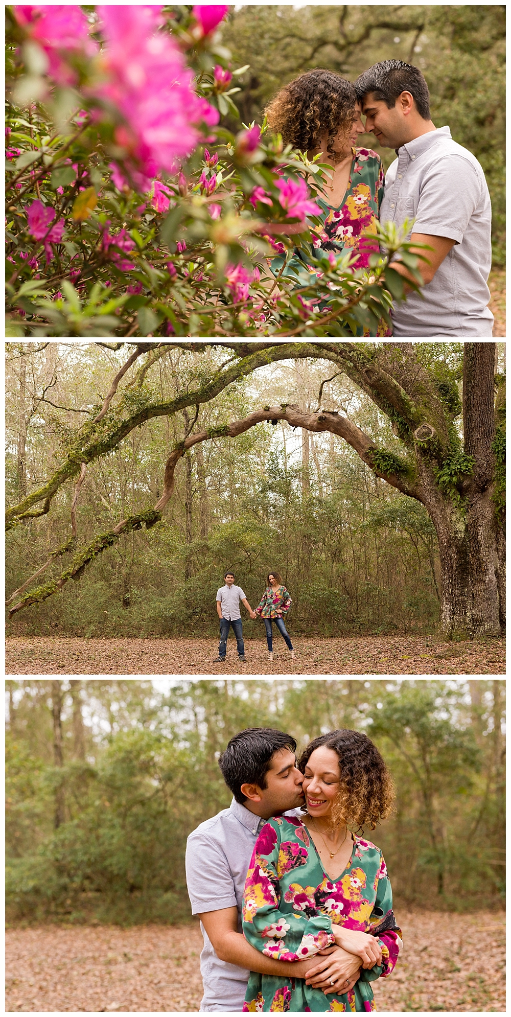 romantic couple portraits with azaleas and live oak trees - Ocean Springs photographer