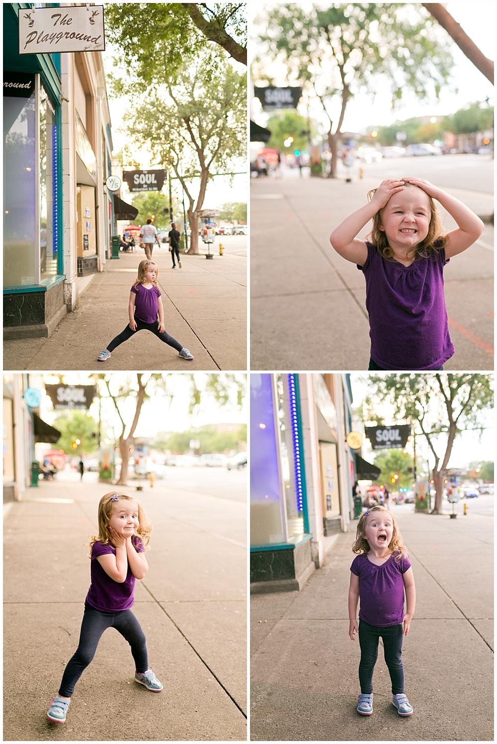 little girl being silly on sidewalk in August, Georgia