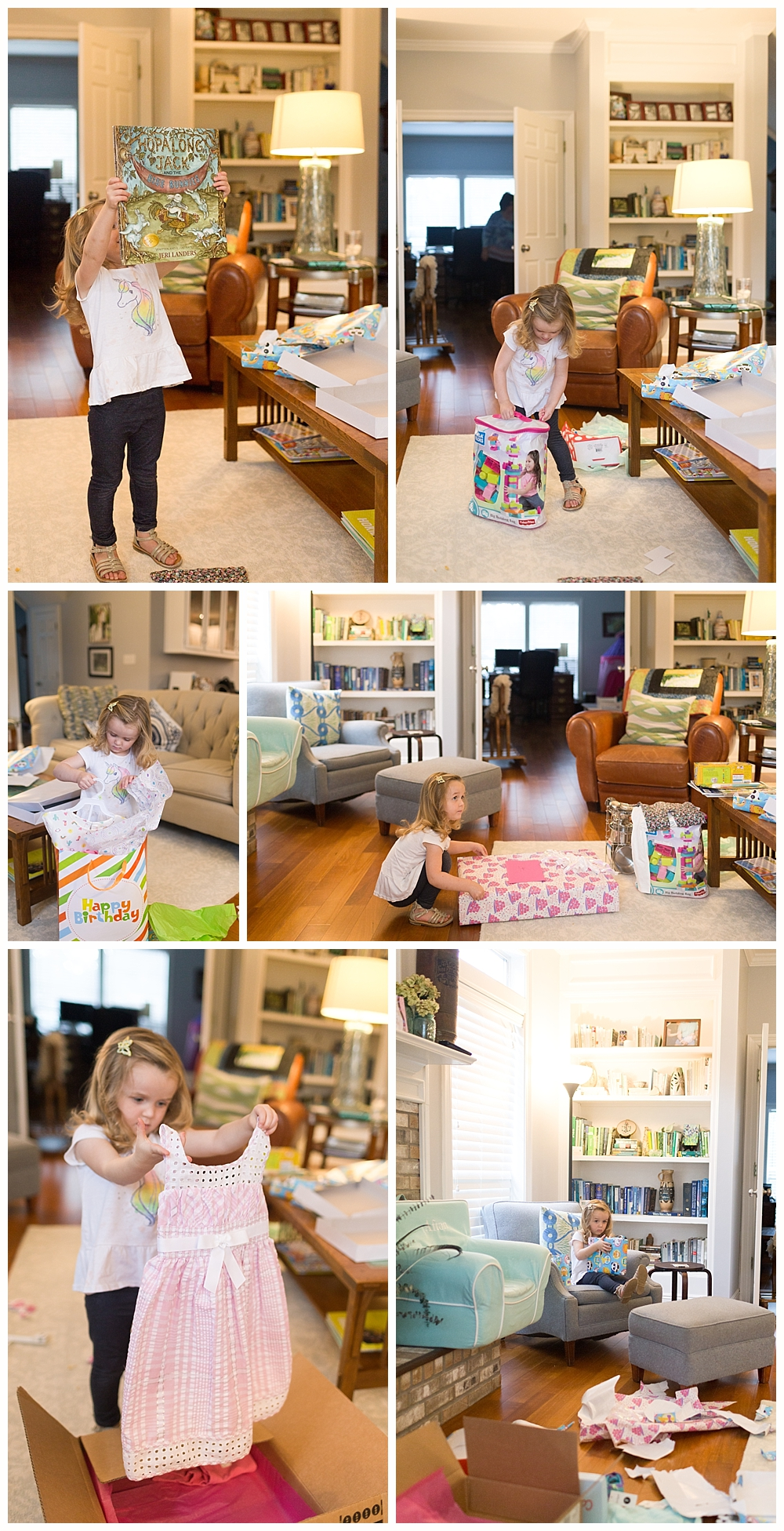 three-year-old girl opening birthday presents in living room