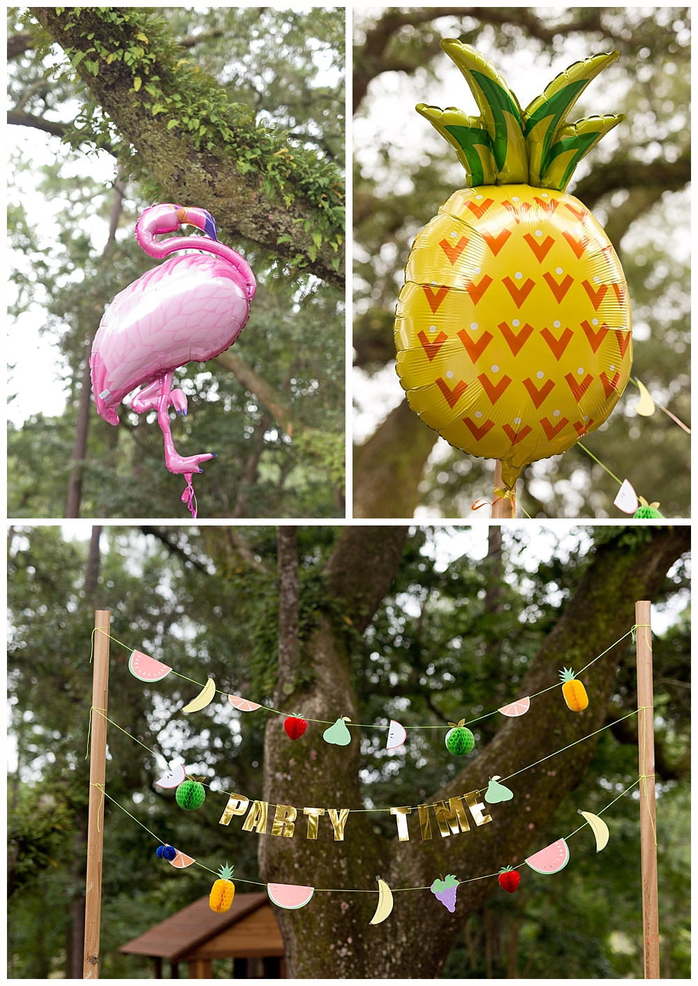 tropical birthday party theme - flamingo and fruit party decorations