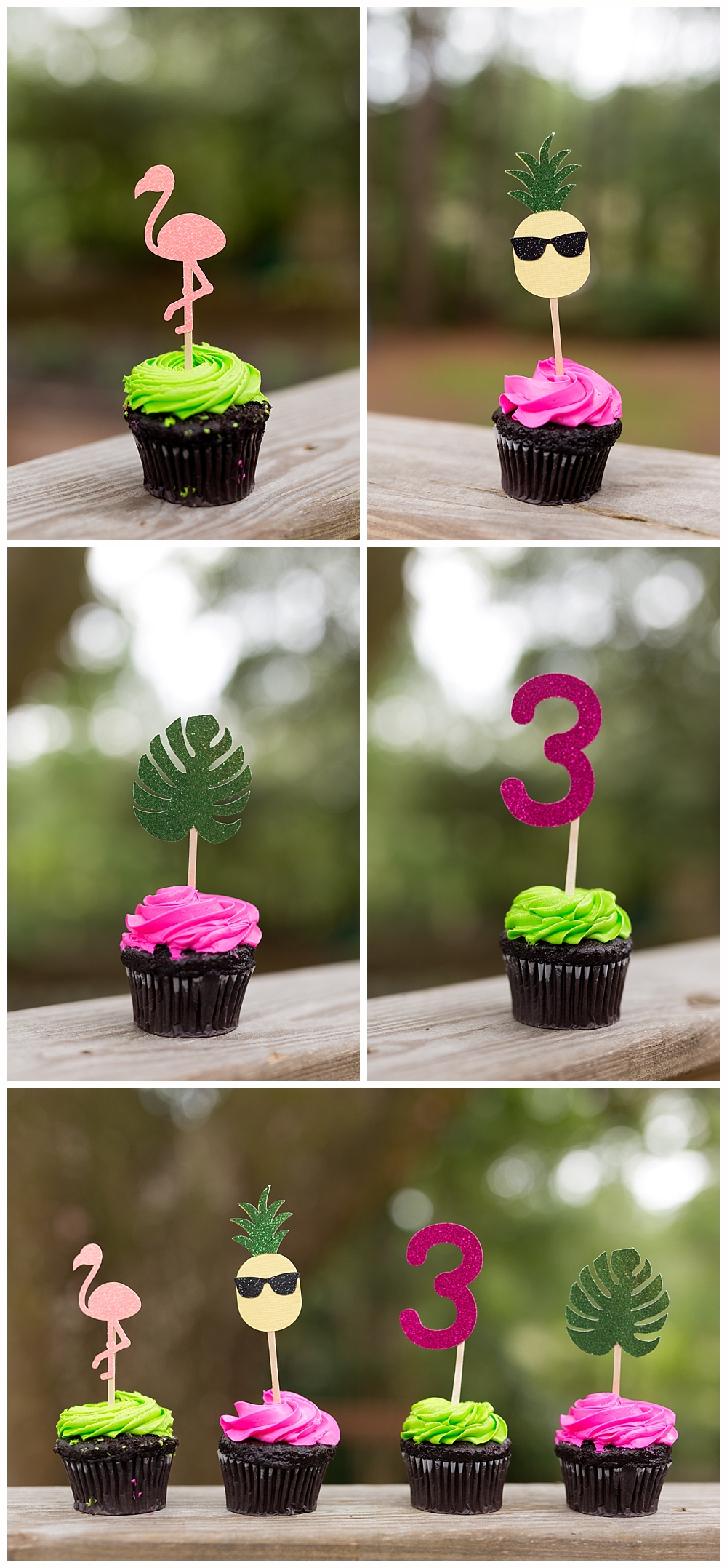 cupcake toppers with flamingo, pineapple, palm leaf - third birthday party theme
