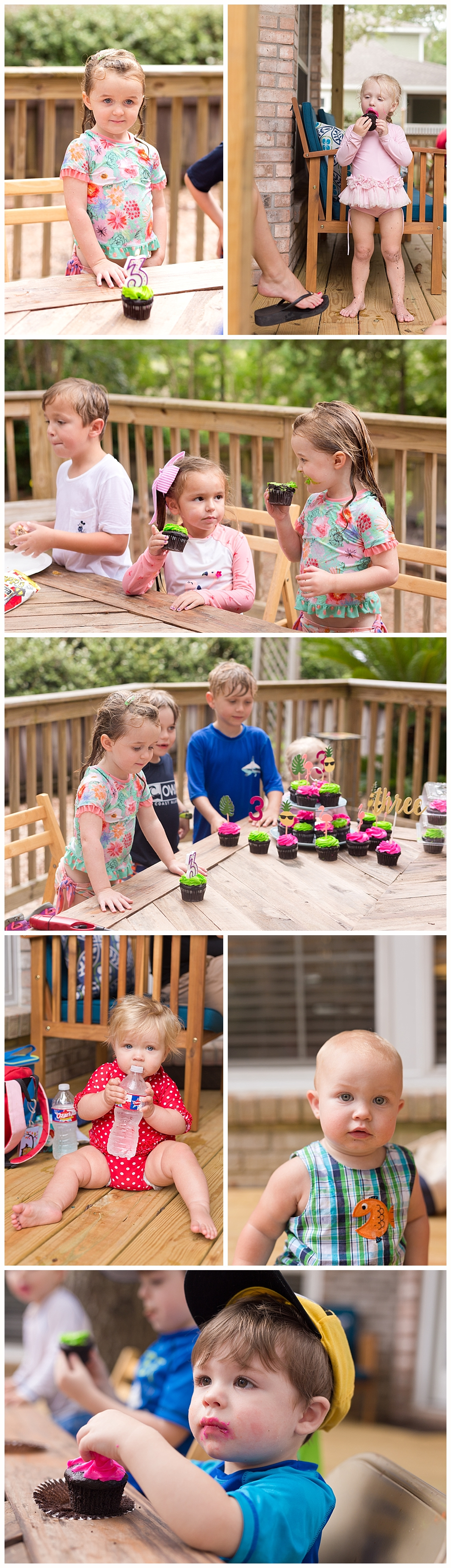 kid party guests eating chocolate cupcakes on back deck