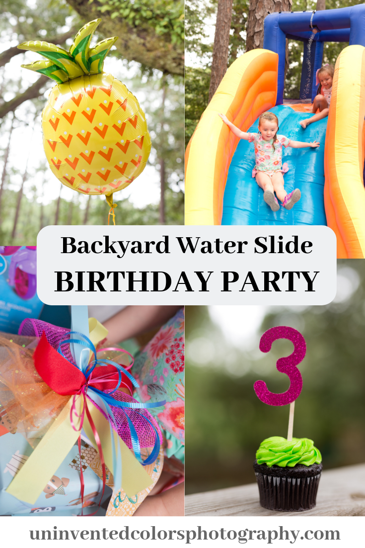 Backyard Water Slide Birthday Party with Tropical Decorations