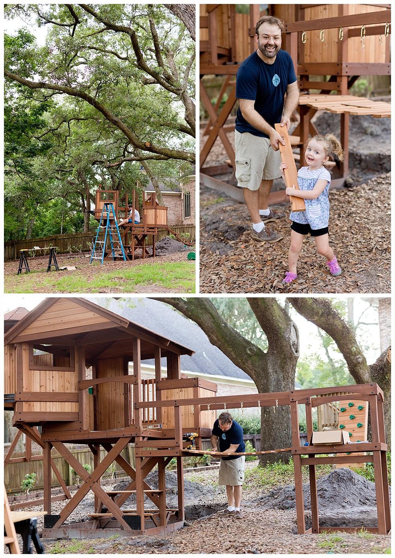 dad and daughter building elaborate backyard play set