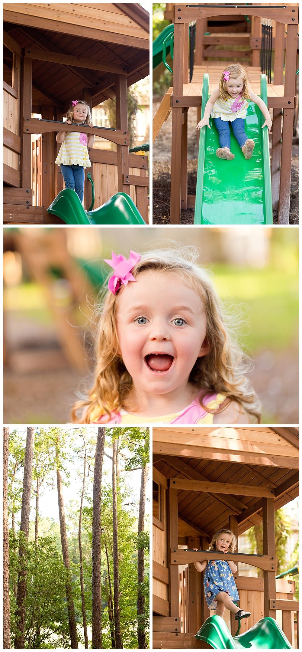 three-year-old girl playing on backyard playset