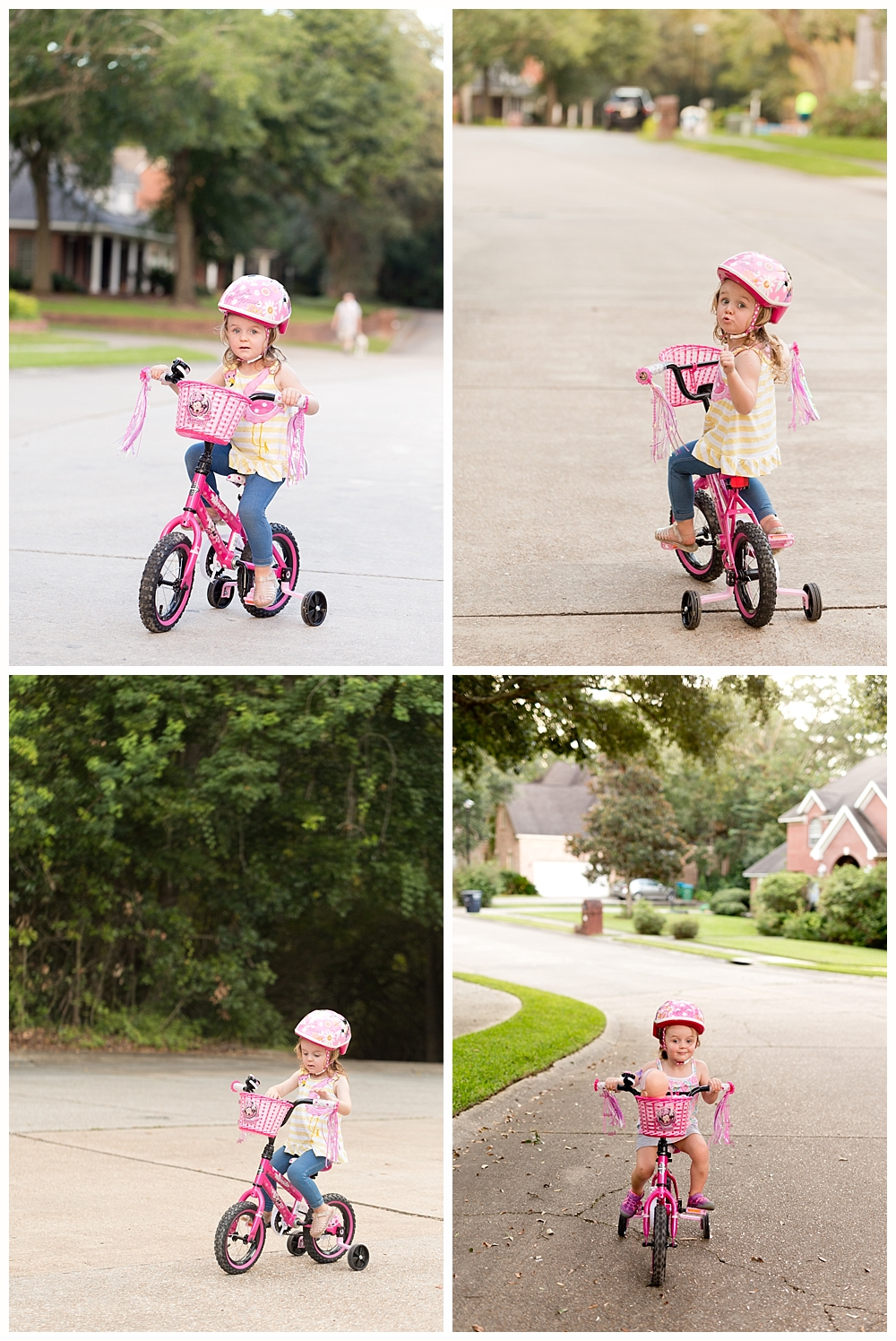 little girl riding Minnie Mouse bicycle with training wheels
