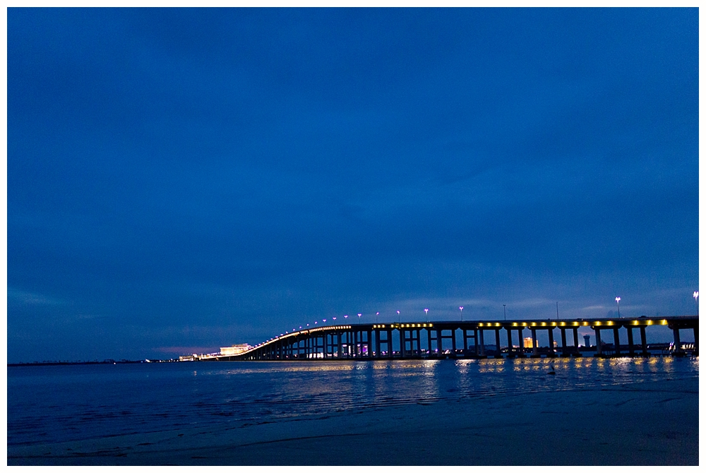 Ocean Springs Biloxi Bridge at night
