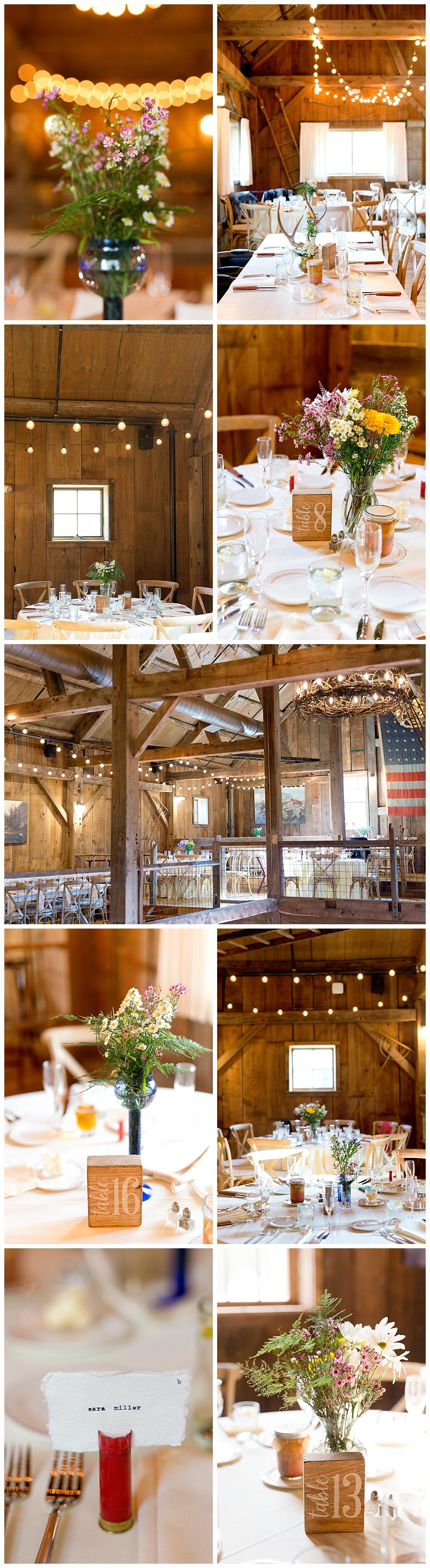 rustic barn wedding decorations at Holderness, NH wedding - The Barn on the Pemi wedding venue