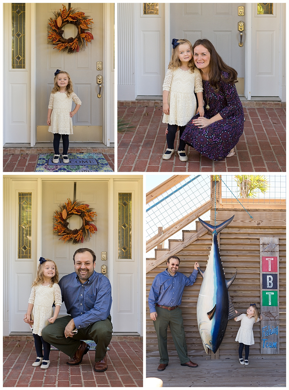 family pictures on front stoop and at The Blind Tiger Biloxi Beach