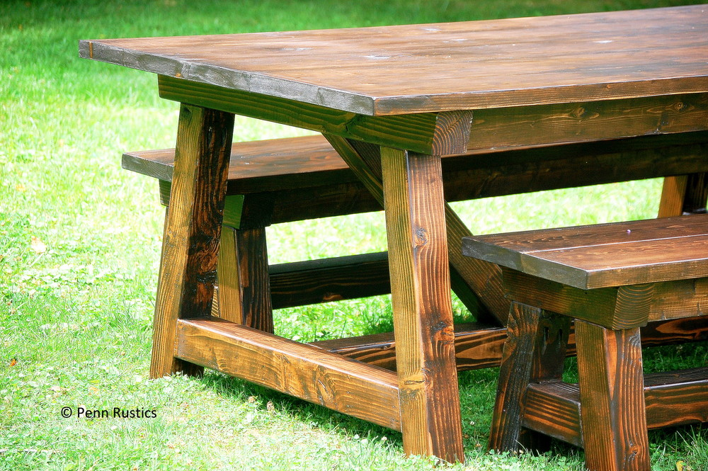 Rustic 4 X 4 Truss Beam Dining Room Table And Bench Set
