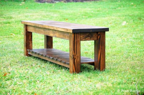 Rustic Farmhouse Entryway Bench with Storage Shelf — Penn Rustics