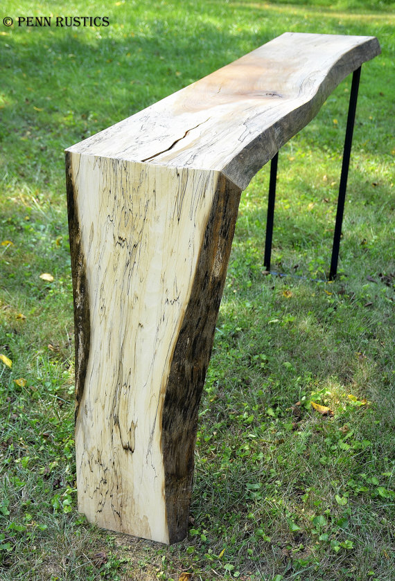 Industrial Rustic Live Edge Console Table With Waterfall Feature