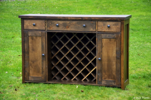 Rustic Dining Room Wine Buffet
