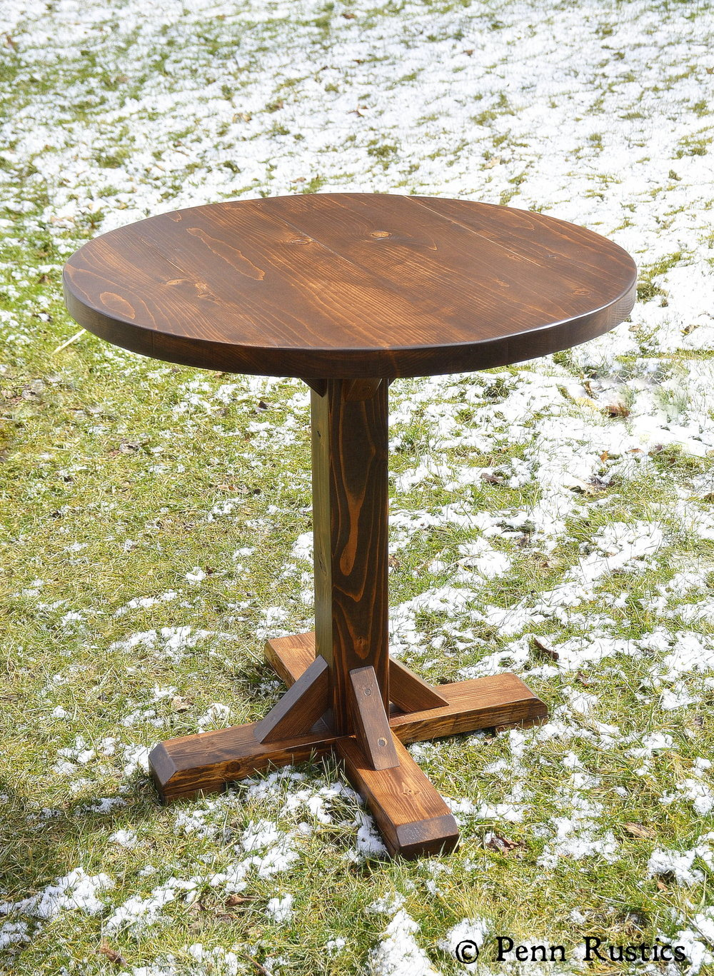 Rustic Round Pedestal Bistro Table And Two Chair Set