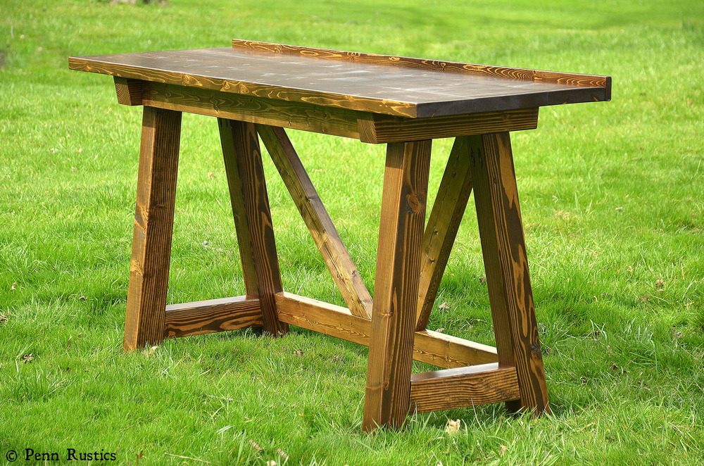 Rustic 4 X 4 Truss Beam Sofa Console Counter Height Table