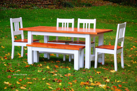 Rustic Country Farmhouse Table Bench and Chair Set.jpg