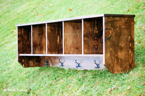RUSTIC FARMHOUSE OVERSIZED ENTRYWAY WALL SHELF WITH COAT HANGERS AND CUBICLES.jpg