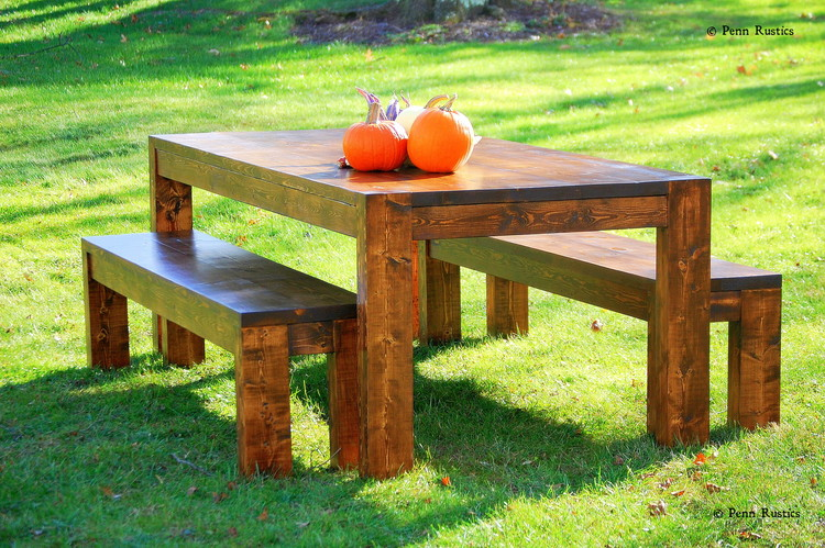 Modern Rustic Farmhouse Table and Bench Set.jpg