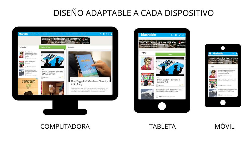 Un buen diseño web cambia el tamaño y disposición del contenido dependiendo del dispositivo que se este usando.