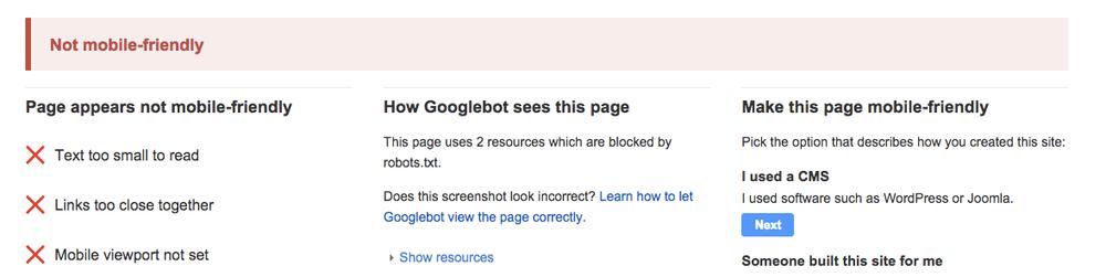 Google muestra los problemas que tiene las páginas cuando se muestran en dispositivos móviles