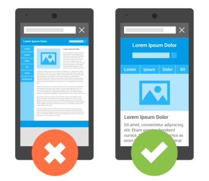 Ejemplo de un sitio con diseño adaptable. El contenido se reacomoda y cambia de tamaño para que se pueda leer y interactuar con el fàcilmente.