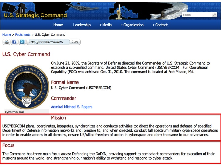 """U.S. Cyber Command"", U.S. Strategic Command   http://www.stratcom.mil/factsheets/2/Cyber_Command/"