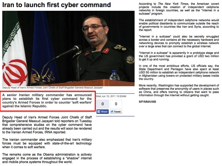"""Iran to launch first cyber command"", Press TV (15 Jun 2011) http://www.presstv.com/detail/184774.html."
