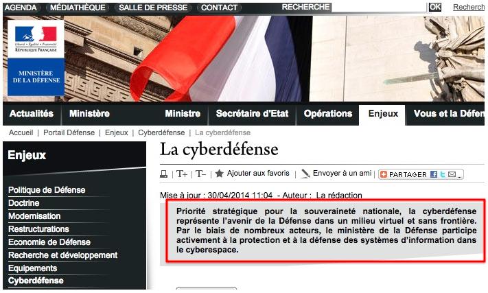 French Ministry of Defense: http://www.defense.gouv.fr/portail-defense/enjeux2/cyberdefense/la-cyberdefense