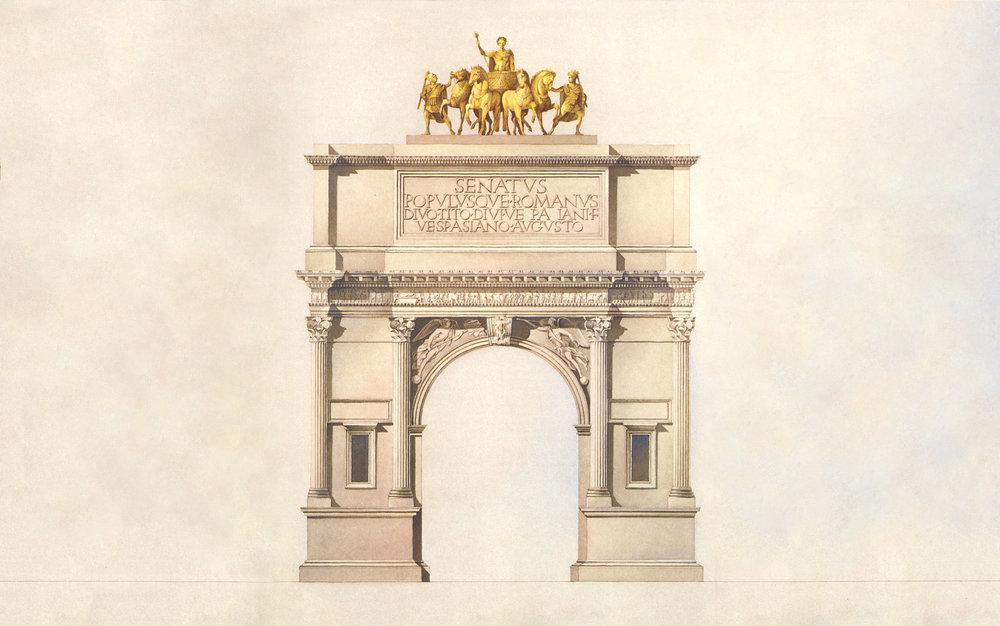 Arc de Triomphe du Carrousel, Paris,designed by  Charles Percier and  Pierre François Léonard Fontaine ,1808