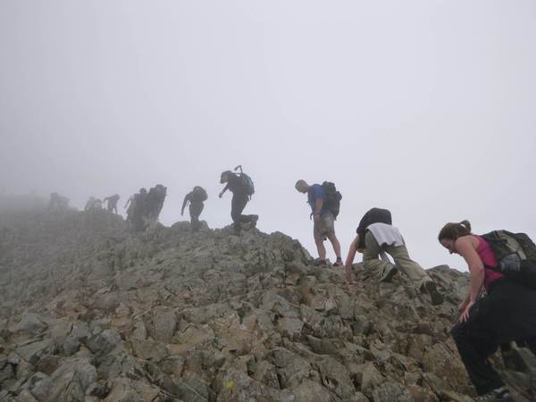 Scrambling up to Crib Goch