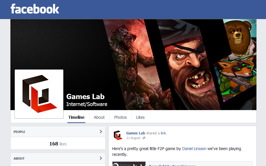 Games Lab Facebook page created to match current branding.