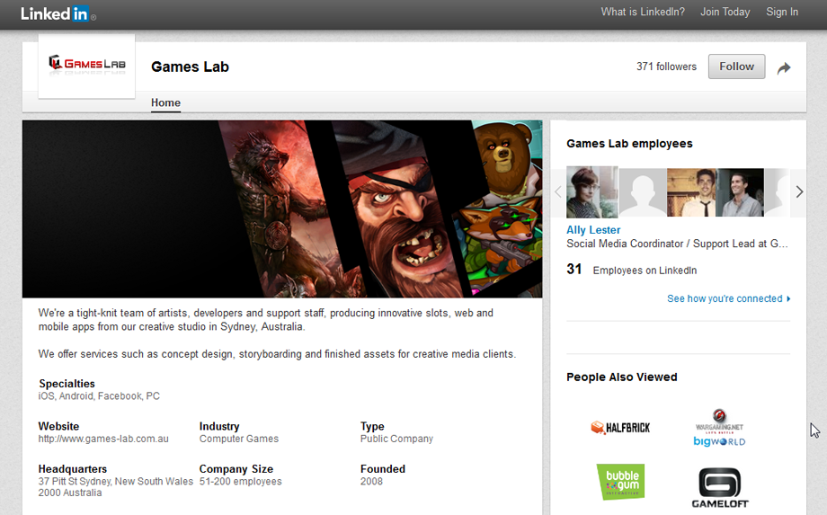 Games Lab LinkedIn page created to match current branding.