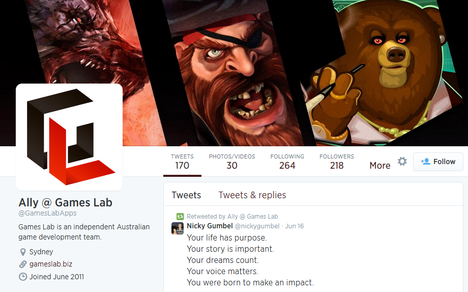 Games Lab Twitter page created to match current branding.