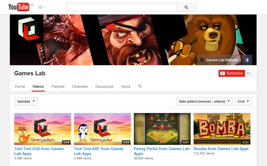 Games Lab YouTube page created to match current branding.