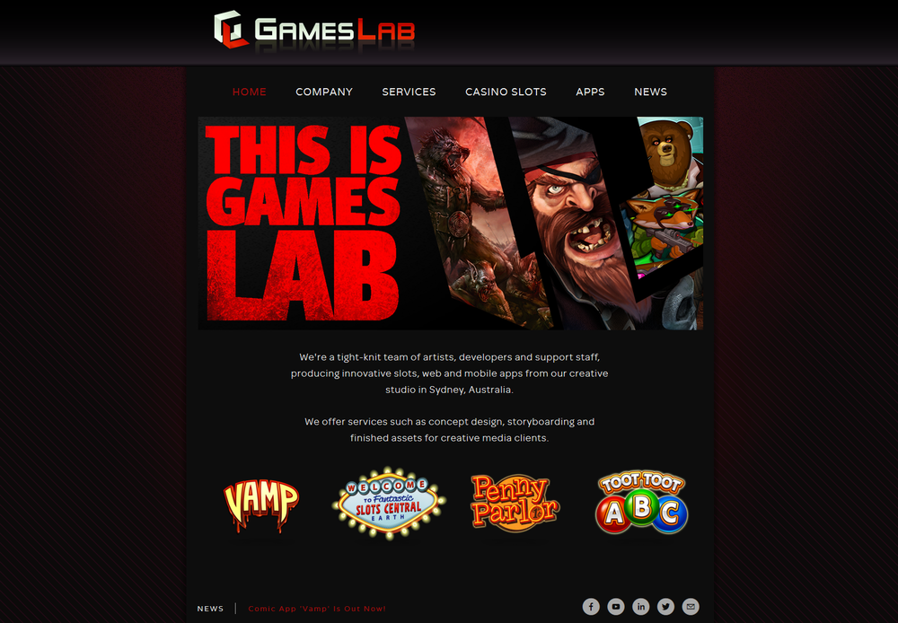 Games Lab social media profiles feature the website's front page motif. Older Games Lab websites and content were combined to create a new page with a more professional style.