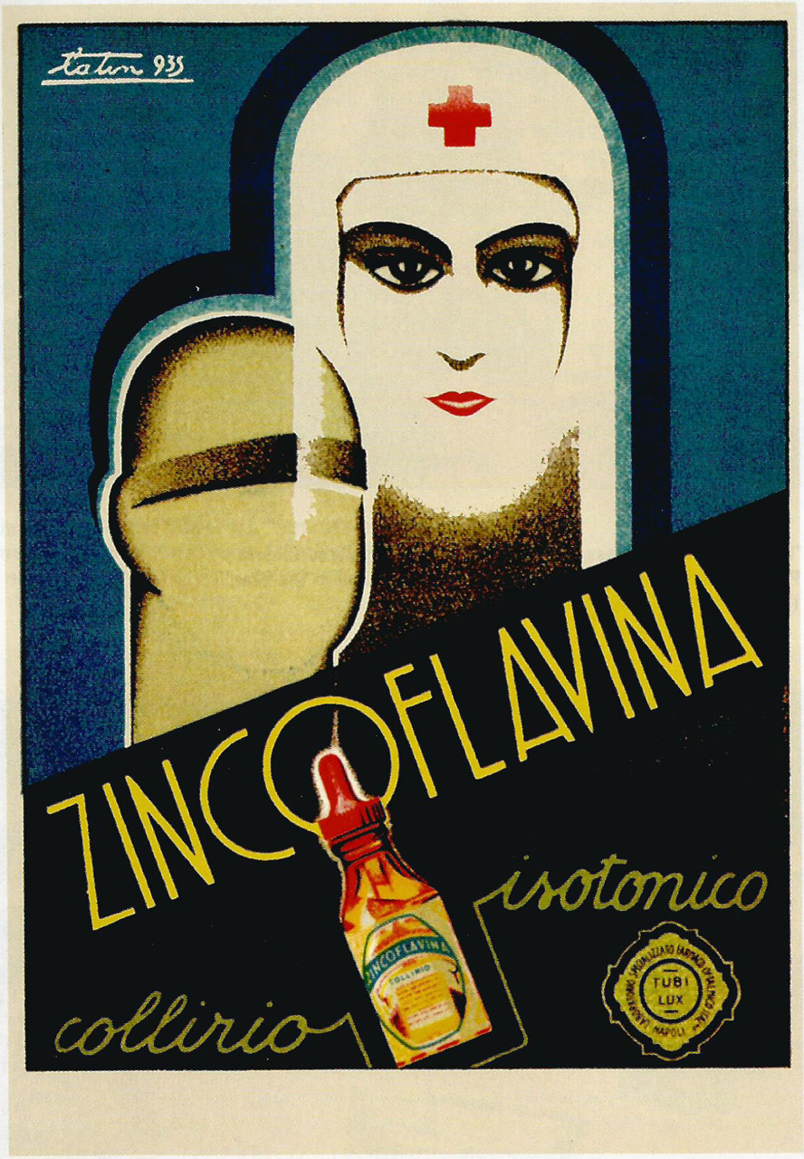 """Zincoflavina."" Specialised Ophthalmic Pharmaceutical Laboratories of Naples. Italy, 1935. Art Deco."