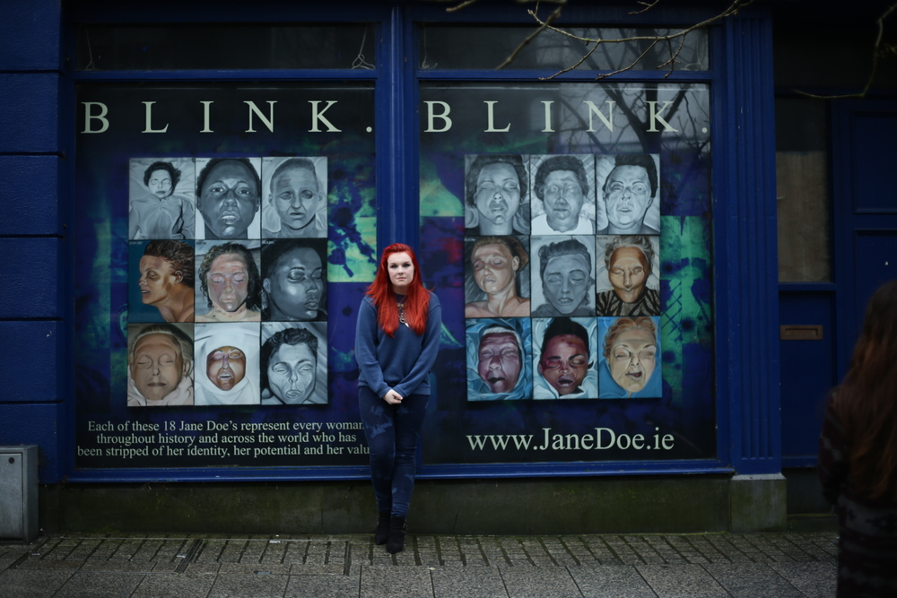 Sarah Honan outside the BLINK exhibition.