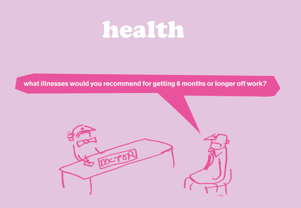 MODERN TOSS - WEEK 3 We continue with health related observations from Modern Toss - cartoonists and animators as seen in The Guardian, Private Eye and The Sunday Times. This week: Time off work.