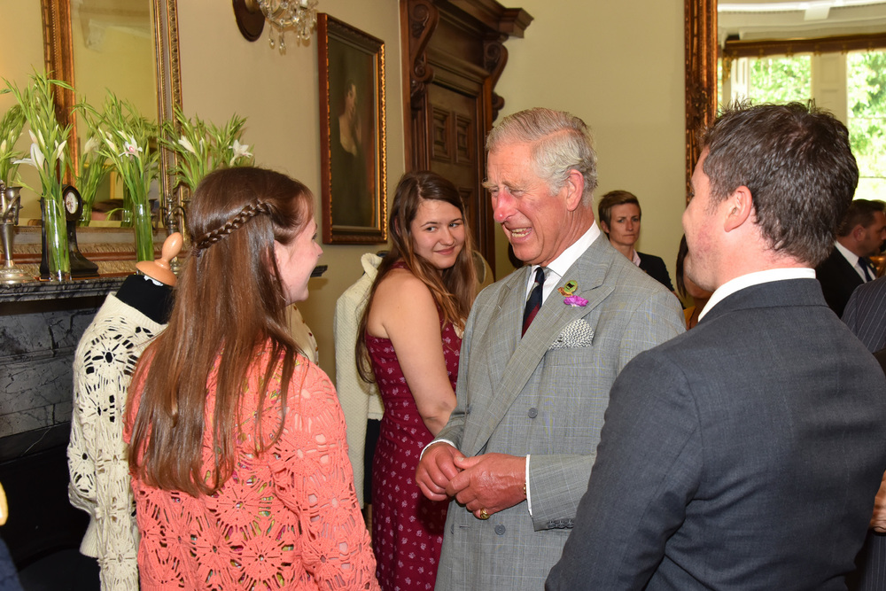 Discussing knitting, crochet and wool, with HRH Prince Charles. Image curtesy of Anthony Pugh Photography.